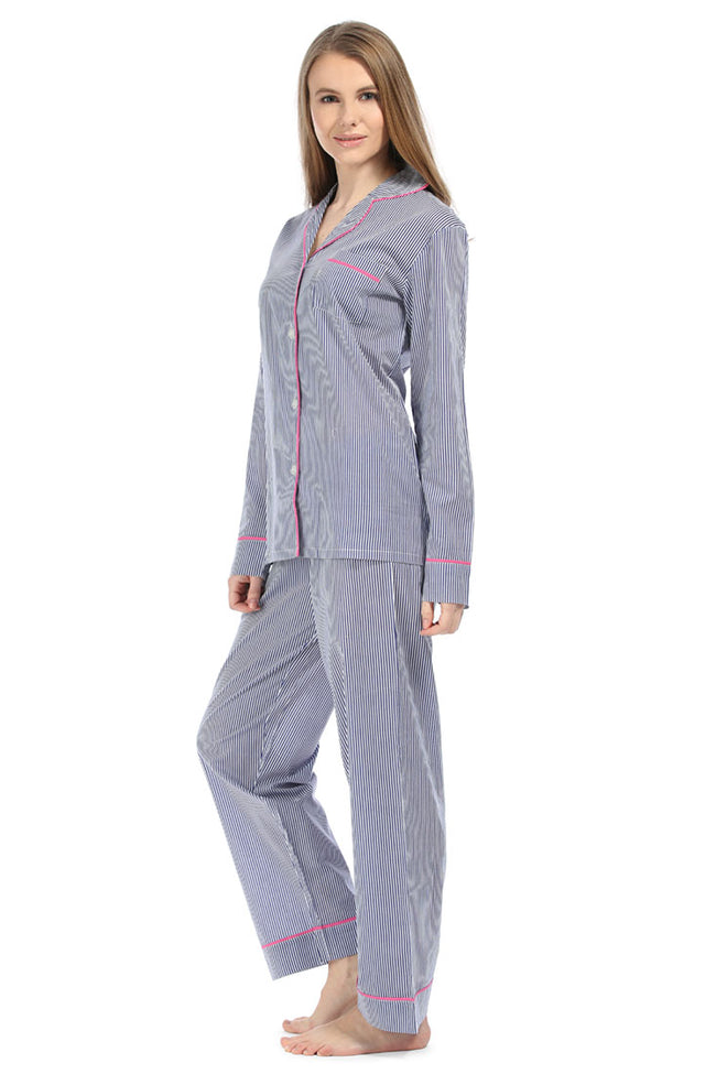 Ticking Stripe Navy Pajama Set