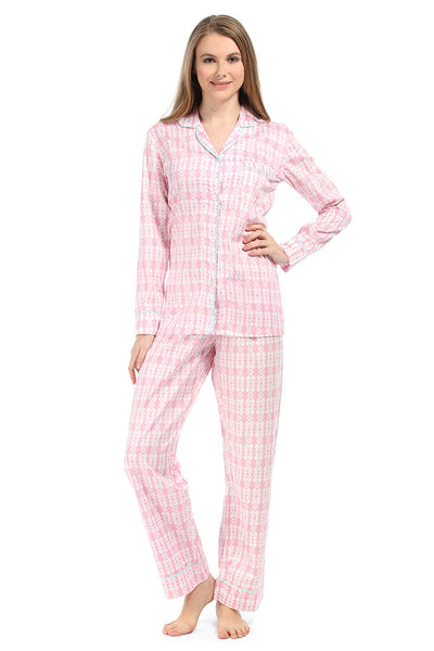 Sea Kisses Pink Cotton Sateen Pajama Set