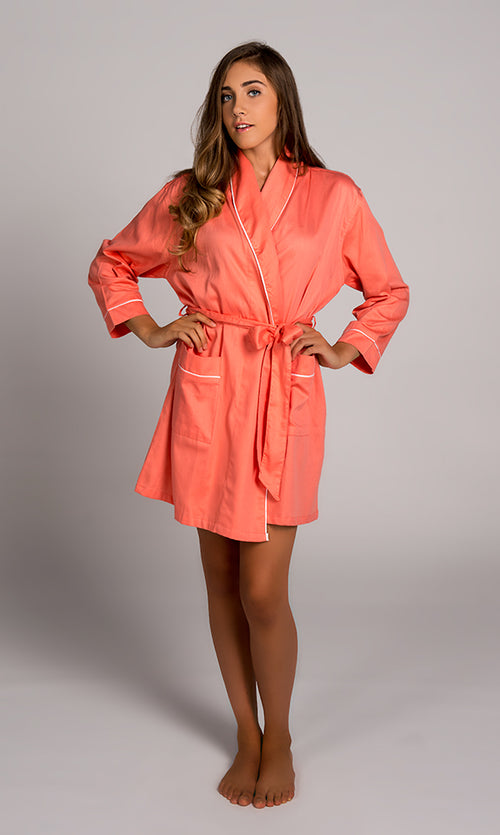 Coral With White Sateen Robe