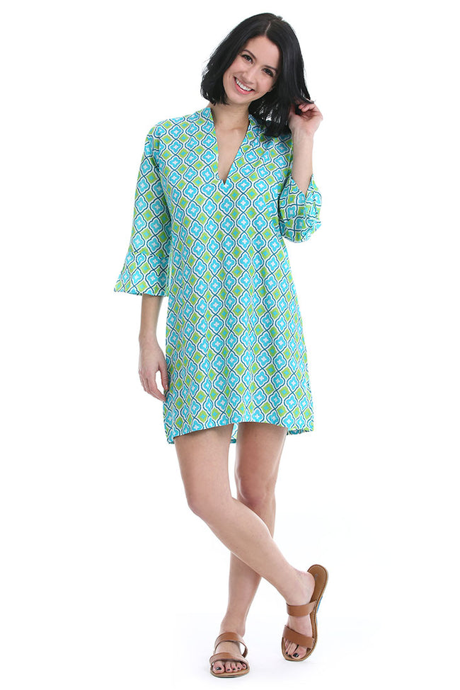 Moroccan Aqua Kaftan Cover Up