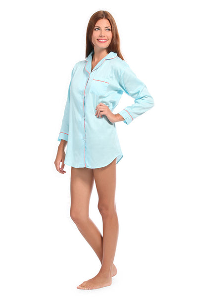 Spa Blue With Coral Sateen Boyfriend Shirt