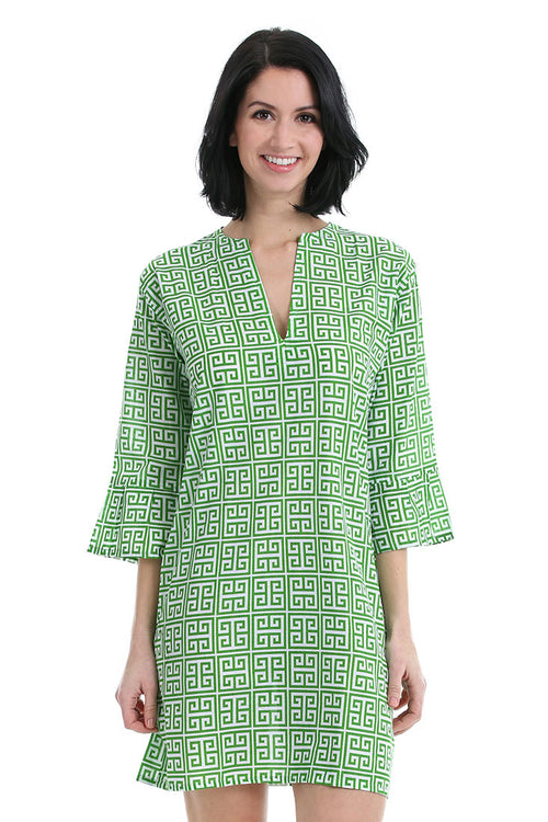 Greek Key Green Kaftan Cover Up