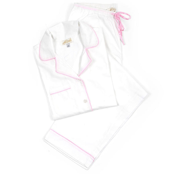 White Cotton Poplin Pajama Set