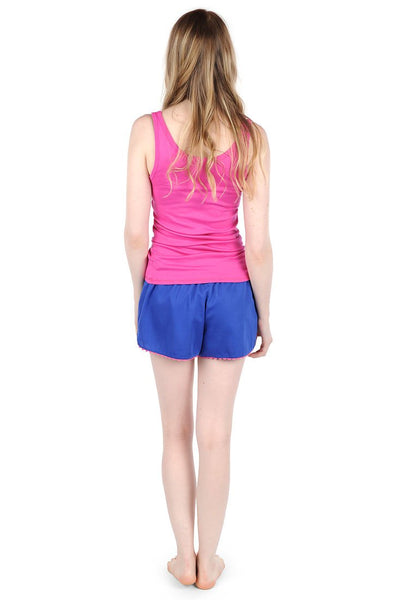 Color Block Navy/Pink Sateen Women's Boxers
