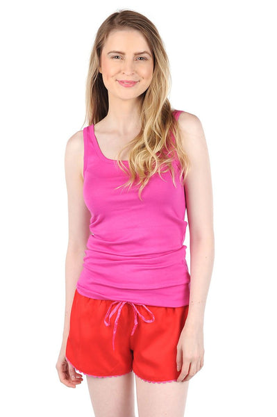 Color Block Red/Pink Sateen Women's Boxers