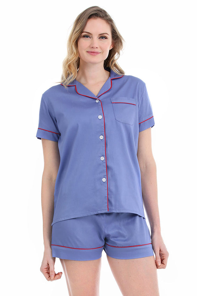 Denim With Red Sateen Summer Pajama Set Prepack