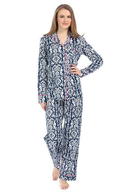 Spa Blue With Coral Sateen Pajama Set