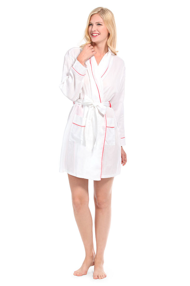 White With Pink Sateen Robe