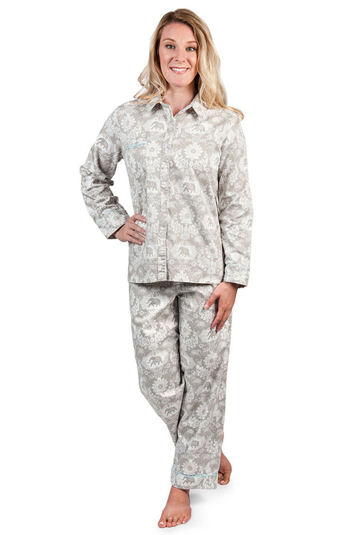 Jaipur Grey Women's Sateen Pajama Set