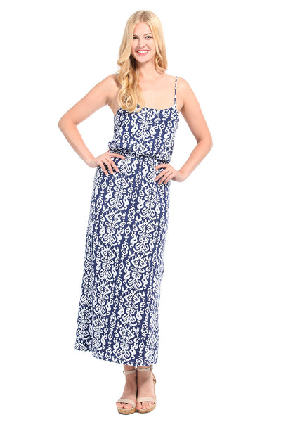 Ikat Navy Maxi Dress
