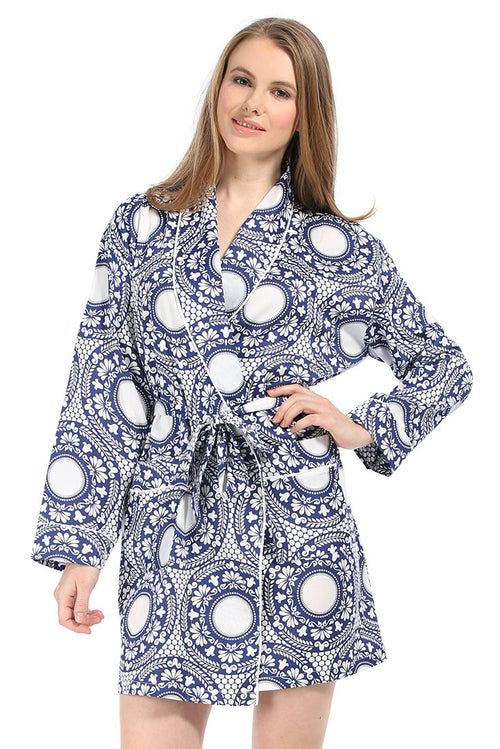 Plates Navy Sateen Robe