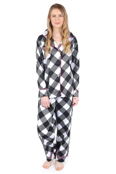 Buffalo Black Sateen Full Pajama Set