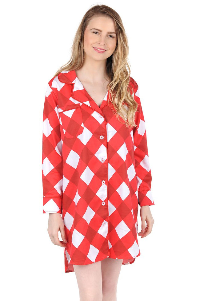 Buffalo Red Sateen Sleep Shirt