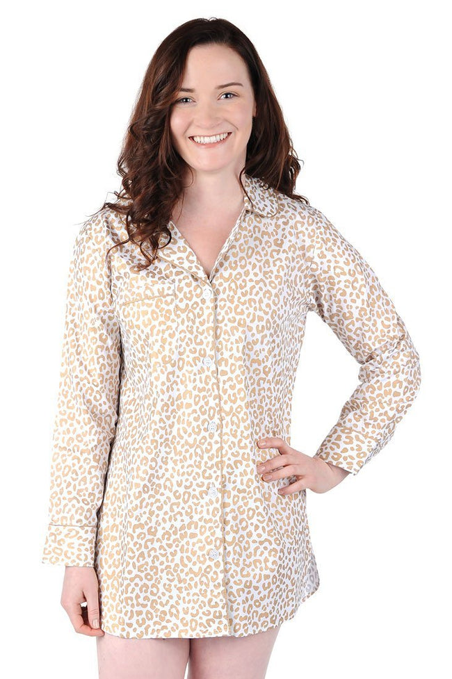 Cheetah Cotton Poplin Sleep Shirt