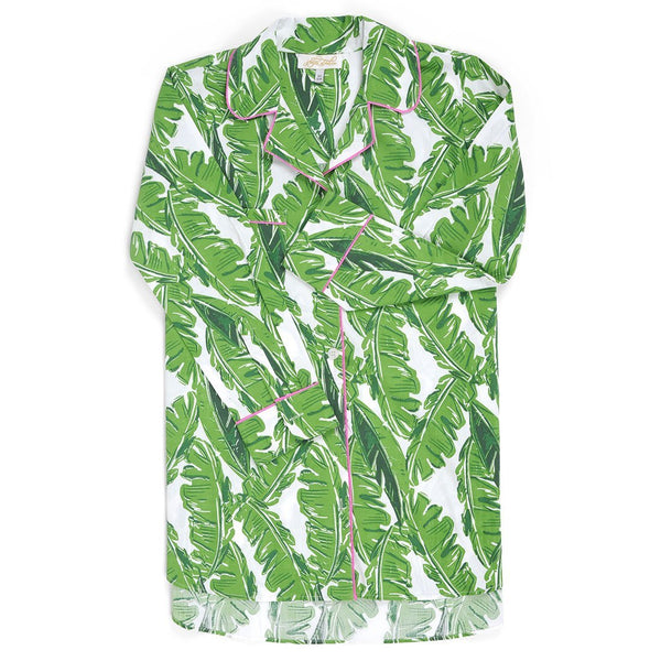 Banana Leaf Cotton Poplin Sleep Shirt