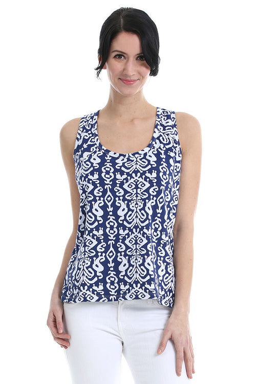 Ikat Navy Tank Top