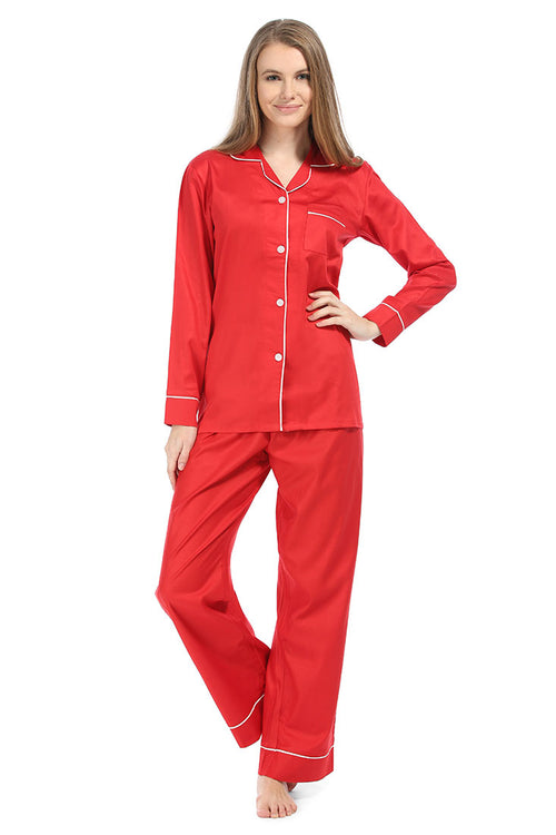 Red With White Sateen Pajama Set