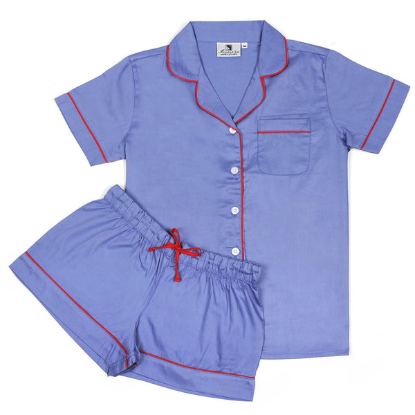 Denim With Red Sateen Summer Pajama Set