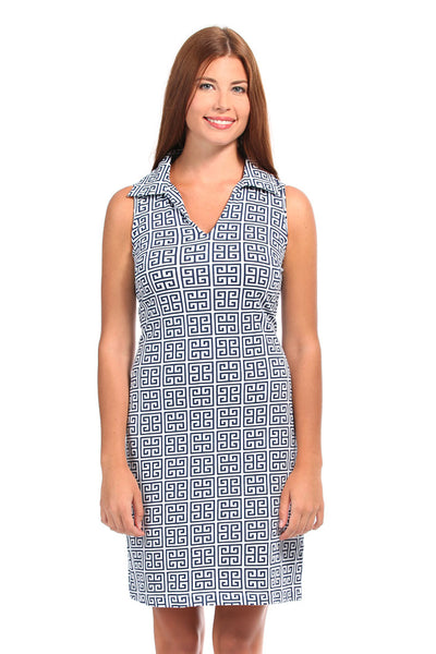 Greek Key Navy Captiva Dress