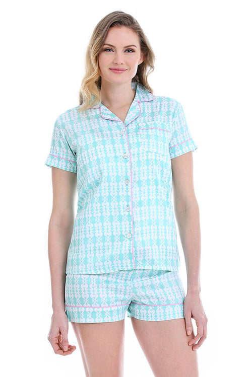 Sea Kisses Aqua Sateen Summer Pajama Set