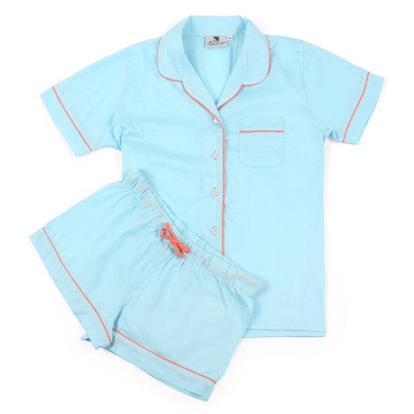 Spa Blue With Coral Sateen Summer Pajama Set
