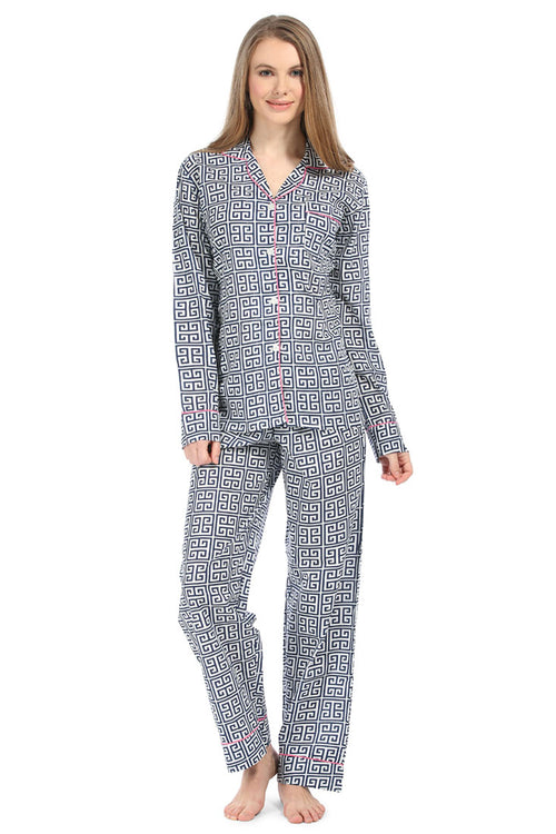 Greek Key Navy Pajama Set
