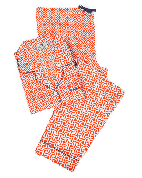 Modern Squares Red Pajama Set