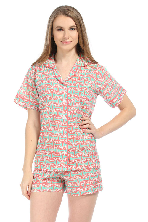 Alice Coral Pink Summer Pajama Set
