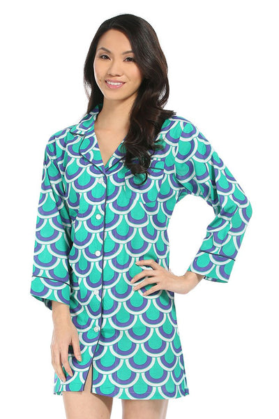 Scalloped Arches Green Bed Shirt