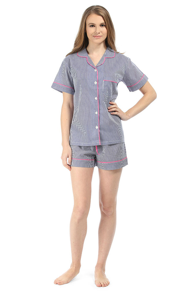 Ticking Stripes Navy Summer Pajama Set