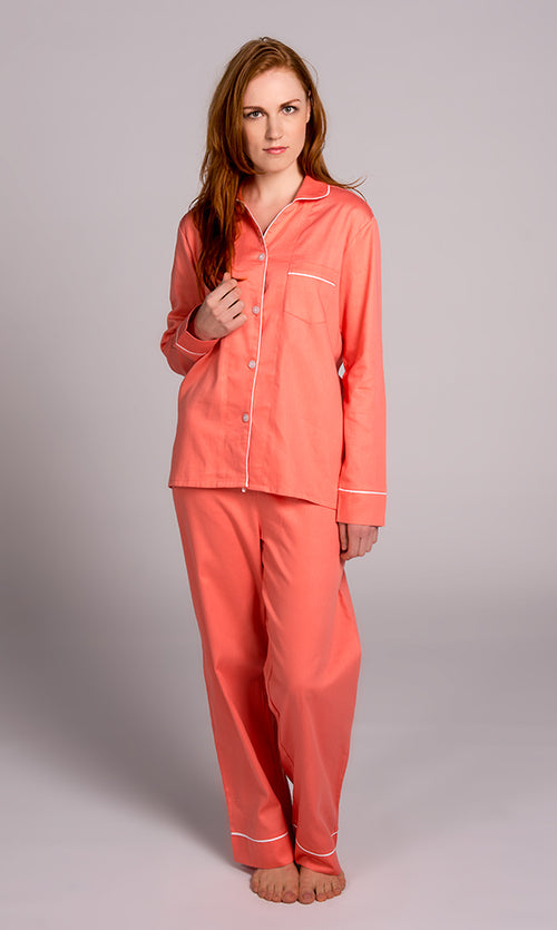 Coral With White Sateen Pajama Set