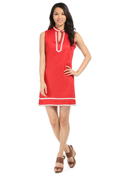 Red with White Charleston Shift Dress