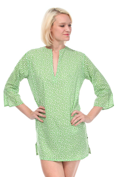 Greek Key Green Tunic Cover Up
