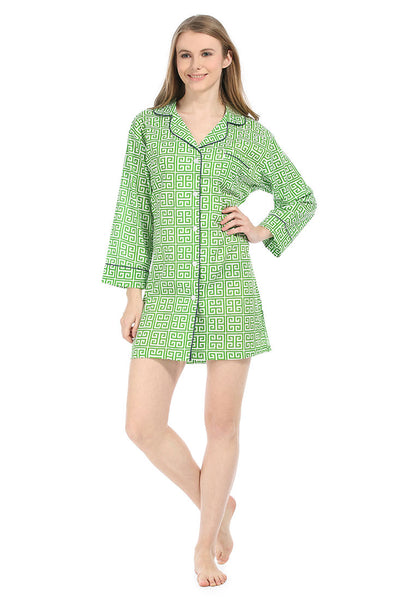 Greek Key Green Bed Shirt