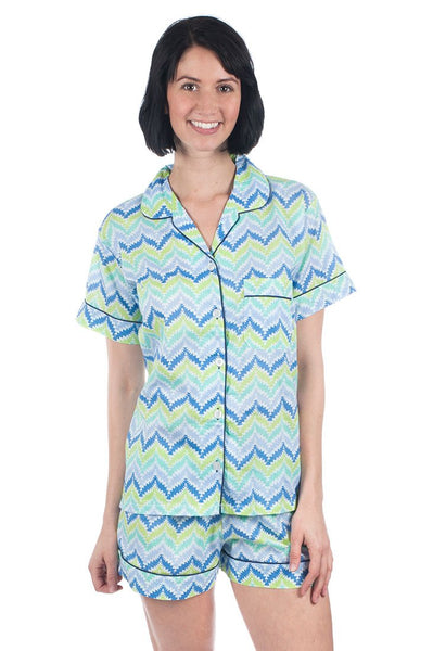 Zig Zag Blue Summer Pajama Set