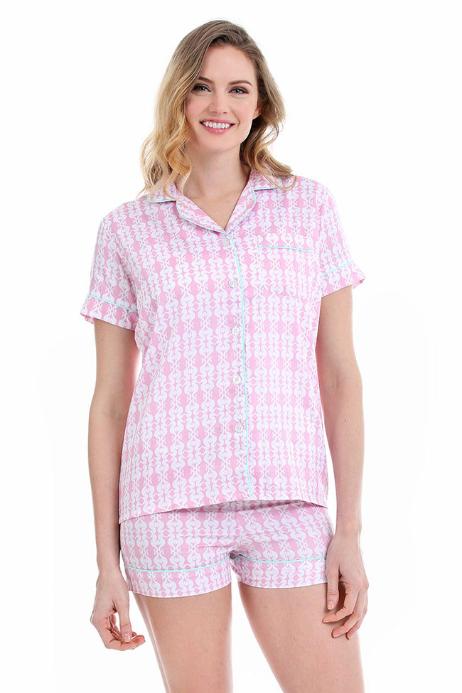Sea Kisses Pink Sateen Summer Pajama Set