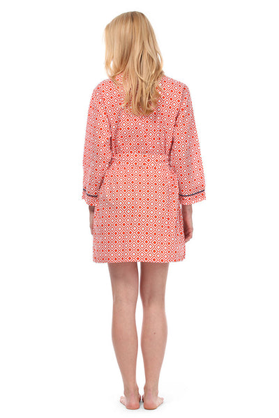 Modern Squares Red Robe