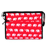 Elephants Red Cosmetic Bag