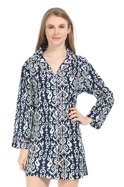 Ikat Navy Bed Shirt