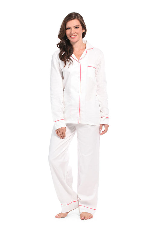 White With Pink Sateen Pajama Set