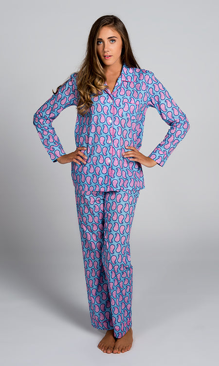 Navy With White Sateen Summer Pajama Set