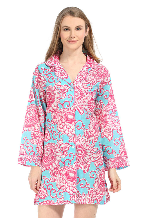 Spring Bloom Aqua Bed Shirt