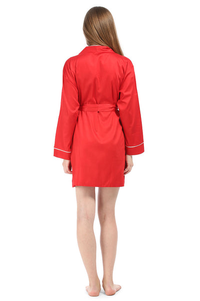 Red with White Sateen Robe