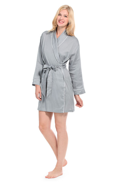 Grey With White Sateen Robe