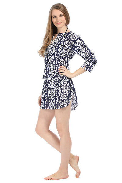 Ikat Navy Beach Cover Up