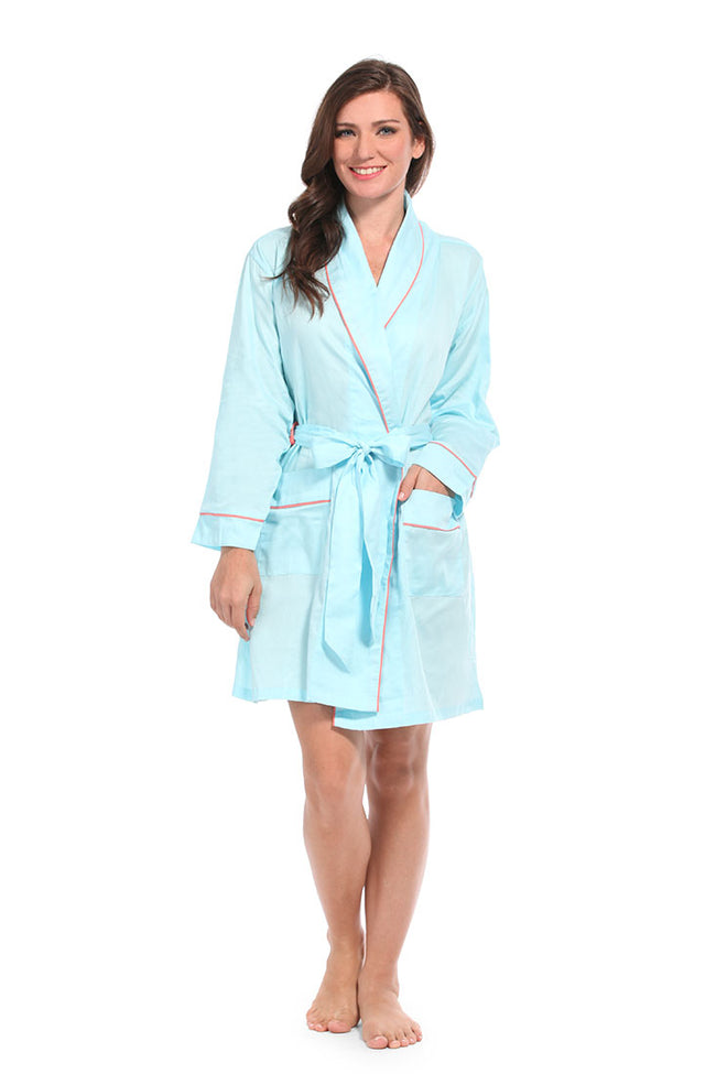 Spa Blue With Coral Sateen Robe