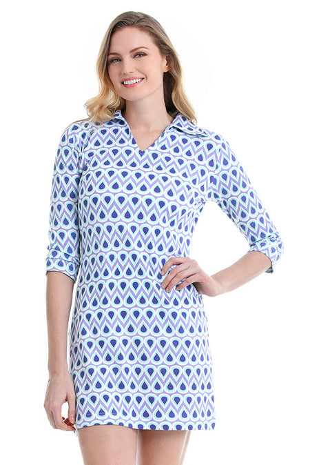 Greek Key Navy Zanzibar Dress