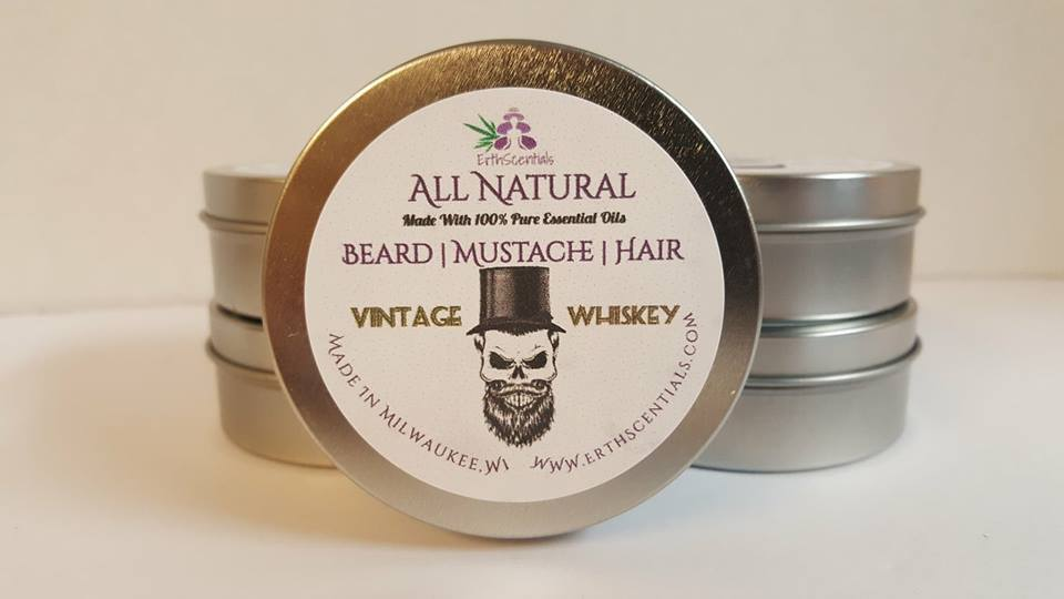 HAIR MUSTACHE BEARD BALM - VINTAGE WHISKEY - ErthScentials
