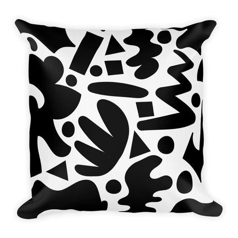 Black Free Shapes Premium Throw Pillow 18 X 18 Inches