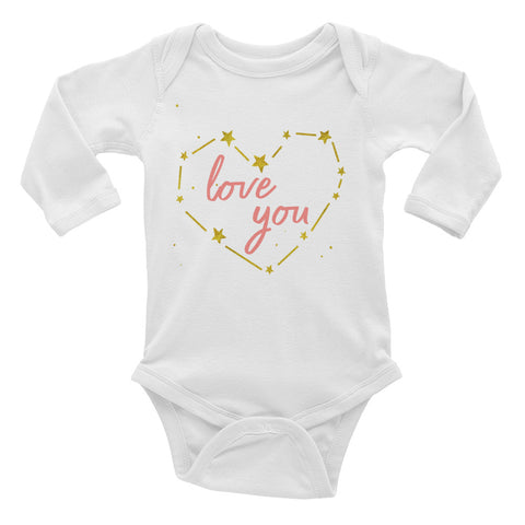 Love You Gold Heart Onsie